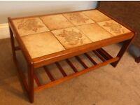 Vintage/ Retro Danish Teak Tiled Coffee Table with Shelf H16in/41cm D18.5in/47cm W33.5in/85cm
