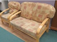 Comfy Wood frame 2 seater Sofa and A Chair (Local delivery available £5-£10)