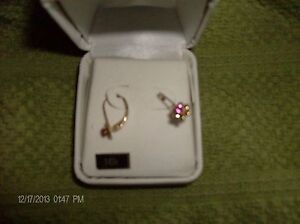 10k Gold with Pink Sapphire Earrings