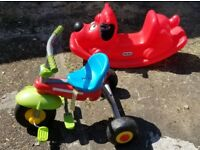 JOBLOT OF 2 LITTLE TIKE ACTIVITY TOYS- 1 ROCKING DOG 1 TRICYCLE KIDS CHILDREN 2-5 YRS GOOD CONDITION