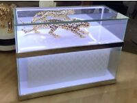 Shop Retail glass jewellery firework mobile phone display cabinet with LED lights