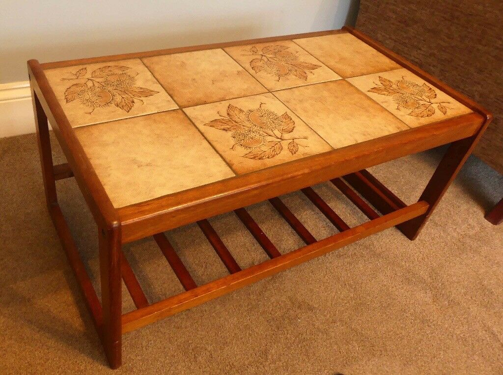 Vintage/ Retro Danish Teak Tiled Coffee Table H16in/41cmD18.5in/47cmW33.5in/85cm