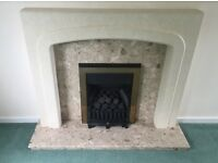 Gas fire place with marble surrounds
