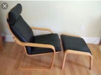 Leather Ikea Poang chair and footstool