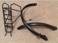 Bike rear pannier rack and mudguards 28""