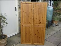 PAIR OF PINE PANELLED CUPBOARD DOORS - very, very good condition