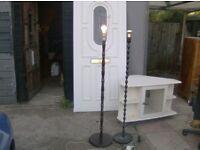 1 metal 1 wood nice looking standing lamps £8 each