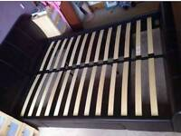 leather double bed with large draw and mattress