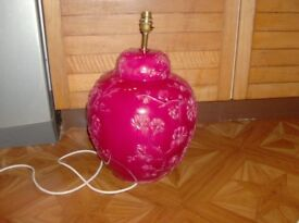 1970's Large red china table lamp with embellished flowers