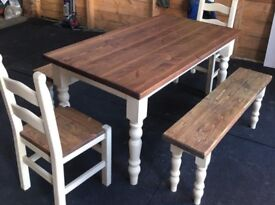 Shabby chick table plus chairs plus bench