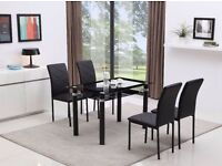 Black Glass Dining Table With Glass Undershelf With 4 Faux Leather Chairs Set