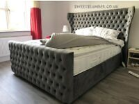 WINGBACK BED - GREY PLUSH VELVET FRAME BED WITH WINGBACK HEADBAORD AND STORAGE