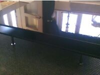 Black high gloss low trendy coffee table with press open draw
