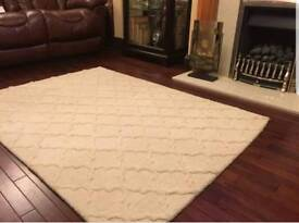 New wool rug medium 1.7 x 1.2 m Cream colour RRP £130