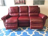 EX DISPLAY GENUINE LEATHER 3 THREE SEATER DEEP RED SOFA SETTE | ELECTRIC POWER RECLINER| 07824772721