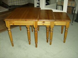 Nest of Three Solid Pine Tables £55