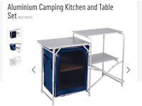 Aluminium camping table and storage