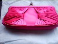 Ladies Hot Pink/Fushia clutch bag or can use chain.