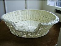 Wicker circular dog/cat basket. NEW. Medium > large size. White painted wicker – easy wipe clean