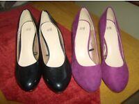 2 pair ladies shoes size 37