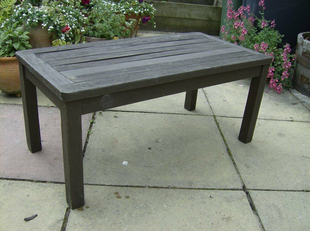 garden table occasional low level table rustic planked top oblong
