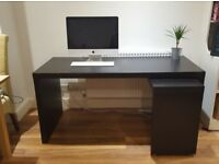 Ikea Malm Pull-Out Desk in Black Brown