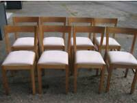 8 Solid Wood & Cream Leather Chairs FREE DELIVERY 079