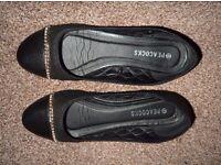 Ladies black flat Peacocks shoes