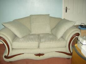 TWO SEATER SOFA WITH LARGE REVERABLE CUSHIONS, FIRE RESISTANT