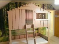 Wooden Treehouse Bed Handmade House Bunkbed Solid Wood Hand Built