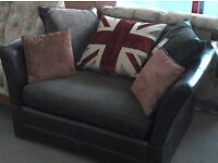 Sofa brown leather style with tassle detail