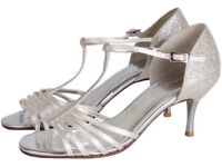 NEVER WORN Rainbow Club Wedding Shoes Florrie Ivory and Silver Shimmer (UK 4 (EU 37))