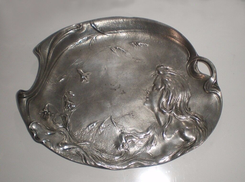 Art Nouveau Maiden Pewter Card Tray / Dish, ca. 1900