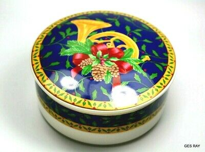 Mikasa Porcelain Trinket Jewelry Box Holiday Christmas Candy Dish with Lid