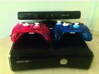 Xbox 360S 250Gb hard drive, kinect and two controllers + 3 games