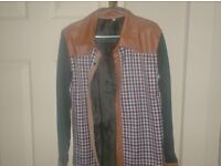 Brand new leather and check shirt