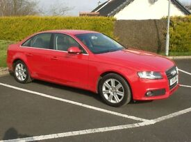 2011 Audi A4Tdi 143bhp, Low Miles, Bright Red, Parking Sensors.