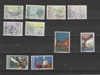 Liechtenstein Briefmarken kleines Freimarken-Lot (10 verschiedene)