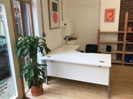 Large L Plan Desks w/ Lockable Pedestal & Screen Divider - Right Handed