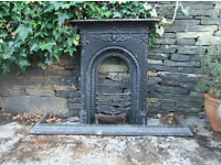 Victorian fireplace grate and copper fender