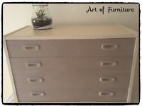Wooden Chest of 4 Drawers Hand Painted in Butterscotch & Coco Chalk Paint.
