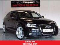 AUDI A3 1.6 TDI S LINE 3d 103 BHP NAVIGATION AND SUNROOF (black) 2011