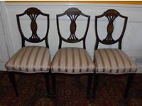 3 Edwardian inlaid shield back dining chairs c1901-1910