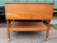 1970s Retro Danish Influence Teak Butlers Trolley / Folding Table - Archibald Kenrick Castors
