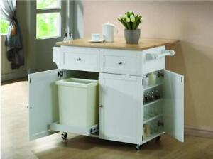43 Transitional Natural Brown and White Kitchen Cart