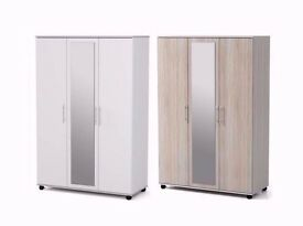 **100% PRICE MATCH!**BRAND NEW Holgate 3 Doors Wardrobe With Drawer &Mirror-Same/Next Day Delivery