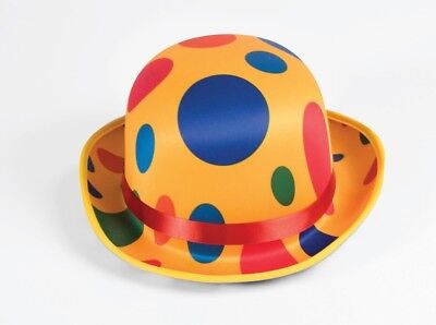 Deluxe Polka Dot CLOWN HAT Derby Style Costume Accessory
