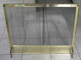 "Large Ornate Mesh Curtain Fireguard in brass plated surround (38"" x 31"")"
