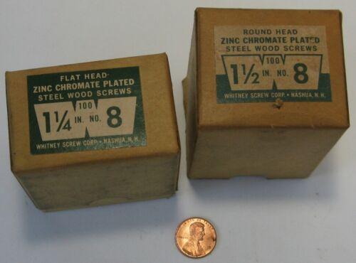 "2 Boxes Vintage Whitney Screw Corp Nashua NH #8 x1 1/4"" Flat H + 1 1/2"" x 8 Rnd."