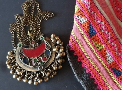 Old Afghanistan Tribal Pendant with colourful inlaid on brass chain …beautiful..